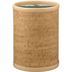 Cork 10.25-inch Round Wastebasket (Cork), Tan, Size Under 3 Gallons (Metal)