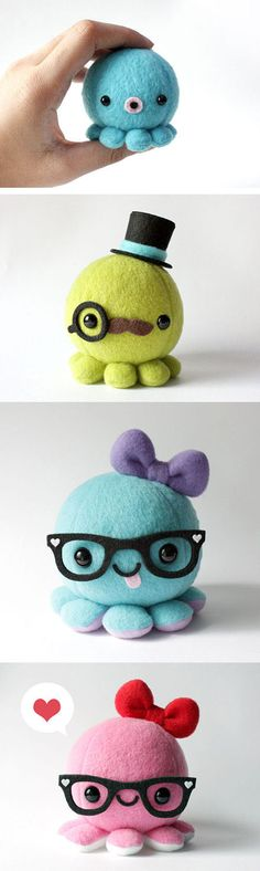 cute octopuses [Etsy: cheekandstitch]#ideas para creas pulpos_deforma_divertida,.