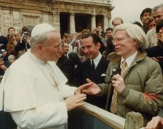Pope John Paul II, Fred Hughes, and Andy Warhol,1980.  Whoever would have thought it?