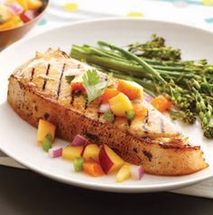 Chef Jack's Grilled Citrus-Marinated Halibut Steaks with Peachy Salsa