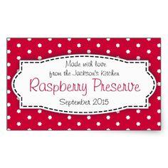 Latest sale raspberry preserve or jam jar food label sticker by www.sarahtrett.com
