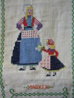 Cross stitch traditional costume of Marken Noord-Holland