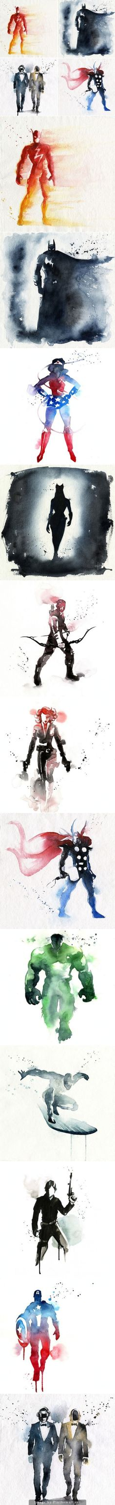 Watercolor Super Heroes Here sumptuous portraits storey superheroes made ​​watercolor by French illustrator Blule.