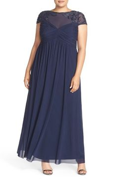 Marina Embellished Yoke Mesh Fit & Flare Gown (Plus Size) available at #Nordstrom