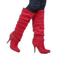Red Strappy Heel Boots.