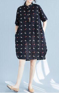 Women loose fit plus large size pocket dress dog flower skirt tunic fashion chic #unbranded #dress