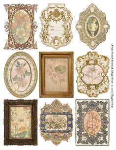 Ornate French Frames with Botanical Prints Collage Sheet - Digital Download