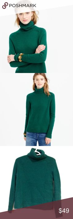 J.Crew Classic Turtleneck Sweater in Wool-Cashmere Size XS. In great condition with some minor pilling as shown. A beautiful forest green, high quality sweater that's a basic staple in any wardrobe. An essential winter layer in a soft wool-cashmere mix with an easy, relaxed fit and ribbed trim. Merino wool/nylon/cashmere. Rib trim at neck, cuffs and hem Relaxed fit. Smoke free home and fast shipping. J. Crew Sweaters Cowl & Turtlenecks
