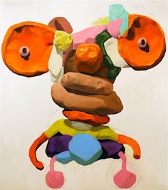 I recently found out about Peter Opheim's work. Very cool stuff. His process is interesting. He creates small clay sculptures that very few people get to see, and then he makes large scale realistic paintings of these sculptures. The sculptures are pretty funky. Some resemble kids plush toys while others are more abstract play-doh looking things.