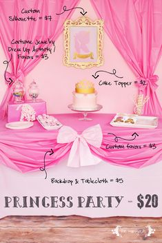 How to throw a Princess Party for $20 including custom favors & decor. Includes free Princess Candy Necklace Favor Printable & tutorial for $5 tablescape.