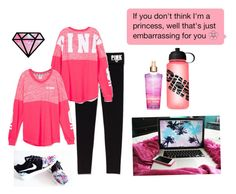 """Laid back cute comfy outfit with super cute shoes that have design"" by miaaa101 ❤ liked on Polyvore featuring Victoria's Secret PINK and NIKE"