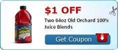 $1.00 off Two 64oz Old Orchard 100% Juice Blends