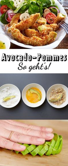 Avocado-Pommes selber machen – so geht's – Low Carb Grilling Recipes Avocado Toast, Avocado Fries, Avocado Dessert, Vegan Avocado Recipes, Vegetable Recipes, Pesto, Avocado Health Benefits, Low Carb Recipes, Avocado