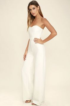 7790333f3983 Let the Pop Life White Strapless Jumpsuit be your new dance partner!  Medium-weight