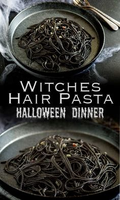 Are you searching for Savory Halloween food for Adults? | This Witches hair pasta is the perfect dinner for Halloween night. Jet black strands of squid ink pasta dressed with a garlic and chilli oil. Delicious, simple and dramatic. And there is plenty of garlic in there to keep the vampires at bay....well it is Halloween! Recipe from Sprinkles and Sprouts | Delicious food for Easy Entertaining #halloween #halloweenfood #halloweenforadults #savoryhalloweenfood #pasta #halloweenthemedfood