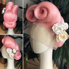 🎄Christmas & NYE – if you're looking for a design in time for Christmas/NYE get in touch ASAP. Wait time up to 5 weeks at the moment ♥️✨ In the meantime – drool over this Victory Roll deliciousness ✨🎄 Pin Up Hair, Love Hair, Big Hair, Hair Pins, Sew In Weave Hairstyles, 1940s Hairstyles, Wig Hairstyles, Bridal Hair And Makeup, Hair Makeup