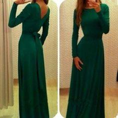 Long Sleeves Pure Color V-Back Backless Long Dress