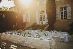 Al Fresco Reception | Petar Jurica Photography | Outdoor Destination Wedding at Chateau de Lartigolle,Pessan France | Jesús Peiró 3000 Dress from Morgan Davies Bridal | Emmy London Bridal Shoes | Mint Green Bridesmaid Dresses