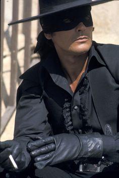 Sneaking a smoke on the set of Zorro.
