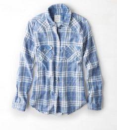 Blue AEO Printed Boyfriend Shirt
