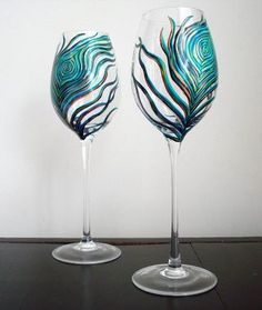 Hand painted wine glasses! Beautiful! For Halie. (Robin)