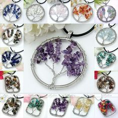 Handmade Natural Gemstone Chips Wire Wrap Life-Tree Bead Pendant for Necklace; $3.07 ea, free s/h
