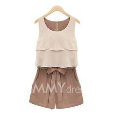 $14.76 Color Block Chiffon Ladylike Style Scoop Neck Sleeveless Jumpsuit For Women
