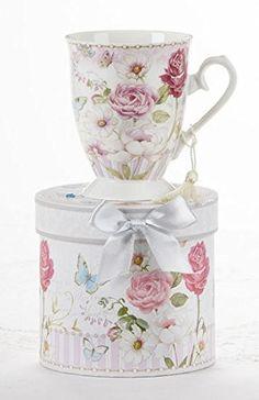Porcelain Tea / Coffee Mug in Gift Box -Pink Grace | Jet.com