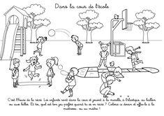 Coloriage à imprimer : Dans la cour de l'école