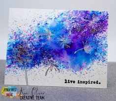 Jessica Frost Ballas, All the Sparkles: Ken Oliver Crafts and Impression Obsess. - card making - Paper Cards, Diy Cards, Craft Cards, Card Crafts, Brusho Techniques, Impression Obsession, Watercolor Cards, Watercolor Background, Hero Arts
