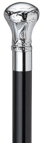 Chrome Plate Brass Knob Cane Imported solid brass Regal knob handle with chrome plated finish and chrome collar mounted handsomely on a glossy black hard wood shaft. The shaft is 36 inches long and ta