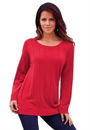 Plus Size Drop Needle Ballet Neck Sweater