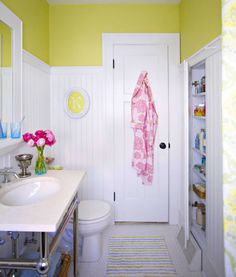 Make a room seem roomier or appear to have higher ceilings by adding a bright color about 6 or so feet up (taller than most people). for a streamlined look, add the color at the point where all the tops of the doors fall.