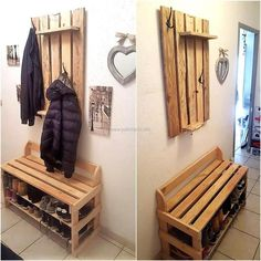Now here we are going to show you an awesome idea for creating two items of daily use with the pallets, shoe rack and clothes hanger. They are needed in every home and making these with this idea will save money as the wood pallets are not costly.