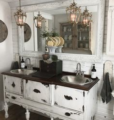Double vanity with silver sinks from Sinkology - House on Winchester