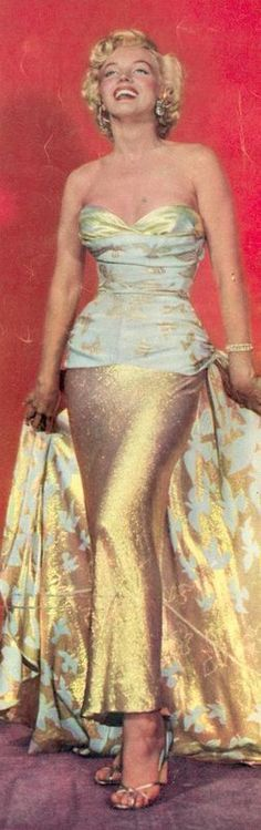 Marilyn Monroe In A Beautiful Gold And Cream Colored Evening Gown.♛ ♛~✿Ophelia Ryan ✿~♛
