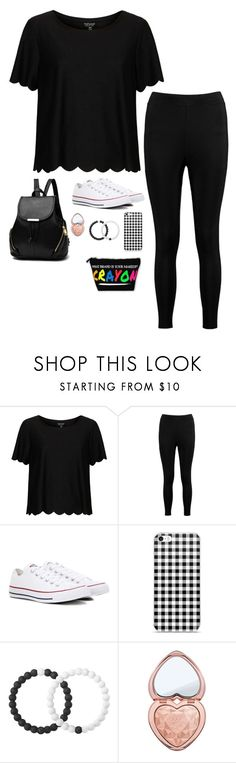 """""""Untitled #4516"""" by if-i-were-famous1 ❤ liked on Polyvore featuring Topshop, Boohoo, Converse, Lokai and Too Faced Cosmetics"""