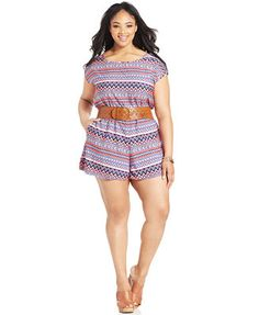 c01d308aa02 Stevie and Lindsay Plus Size Short-Sleeve Printed Romper Plus Sizes -  Shorts - Macy s