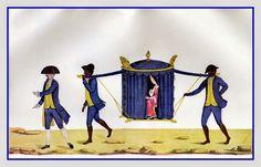 Carregando um palanquim - Rio de Janeiro, Brasil, ca 1770   Carlos Julião (1740, Turim - 1811, Lisboa) foi um artista luso-italiano e engenheiro do exército colonial, que atuou na segunda metade do século XVIII e inicio do século XIX como inspetor de fortalezas, mas se tornou mais conhecido pelos seus desenhos em aquarela retratando os diferentes tipos raciais e sociais do império português, bem como o período da mineração no Brasil.  http://sergiozeiger.tumblr.com/post/97129710403