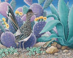 Acrylic on canvas roadrunner in colorful desert.