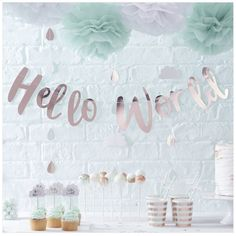 Rose Gold Hello World Bunting - Hello World -  Baby Shower