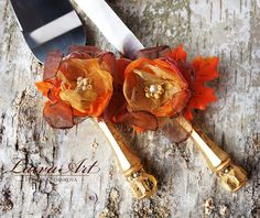 Gold / Fall / Wedding / Cake Server Set & Knife / Wedding Cake Knife / Rustic / Outdoor / Cottage / Shabby Chic / Wedding - pinned by pin4etsy.com