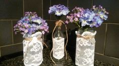 Vintage lace  bottles jars twine wrapped tops -wedding table decor shabby chic vintage