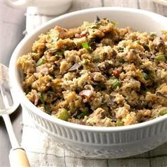 Mushroom Stuffing Recipe -I first tried this stuffing a few years ago, and it fast became our family's favorite. My hearty corn bread mix is flavored with mushrooms and bacon. —Kathy Traetow, Waverly, Iowa