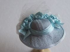 Handmade 1/12 scale dollshouse miniature blue silk hat