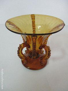 Antigüedades: Antigua Jarrón - Cristal Soplado Mallorquín - Color Ámbar - Principios S. XX - Foto 5 - 78050409