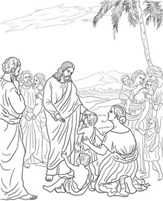 Jesus abençoa as crianças Página para colorir