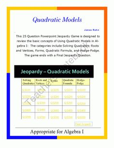 Algebra II Smartboard Jeopardy Game - Quadratics and Polynomials from jamesrahn on ...