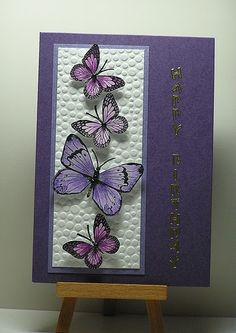 Purple Butterflies , a photo by cathroff  on Flickr.   Hi, Ifinally found some time to make a card for a couple of challenges. It's been...