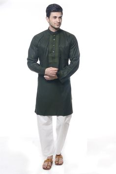 FOREST GREEN DUAL TONE ART SILK READYMADE KURTA PAJAMA